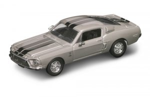 Road Legends 1968 Shelby Mustang GT 500 By Yat Ming, 1:43 Scale - Silver