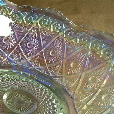 Diamond Lace Hobstar Vintage Carnival Glass Bowl