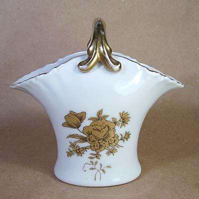 Limoges France Vintage Basket Vase w/Gold Flowers
