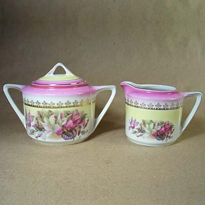 Antique German Germany Pink Floral Sugar Bowl & Creamer