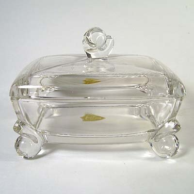 Tiffin Glass Vintage Crystal Cigarette/Candy/Dresser Box w/Label
