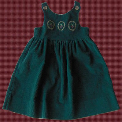 Kelly's Kids Green Corduroy Jumper Dress Holiday Size 3 3T