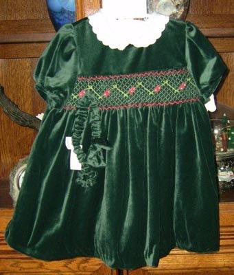 Little Bitty Velvety Smocked Holiday Dress Size 24 Mos NEW