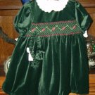 Little Bitty Velvety Smocked Holiday Dress Size 24 Mos NEW