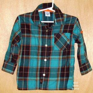 Gymboree THIN AIR Plaid Snap Front Shirt Boys Size 2T