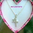 JLO Double Rhinestone Crucifix Necklace NEW J LO