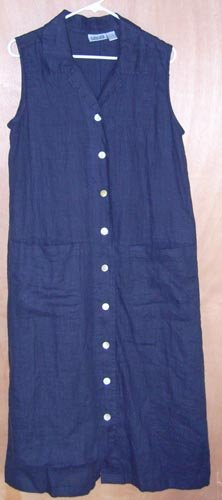 Chico's Design Navy Blue Linen Dress Size 1 S/M