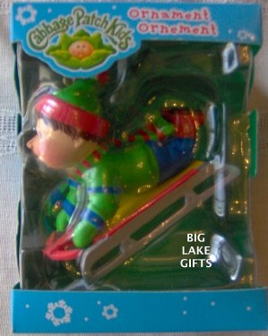 Cabbage Patch Kids Ornament Boy on Sled 2005 AG NEW