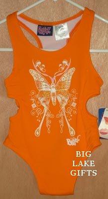 BRATZ Orange Butterfly Bathing Swim Suit Size 4 4T NEW