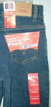 Levi's Girls Flares 517 Levi Denim Jeans Size 12 NEW Stretch
