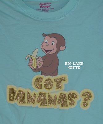 Curious George Monkey GOT BANANAS? Shirt 10/12 Top NEW