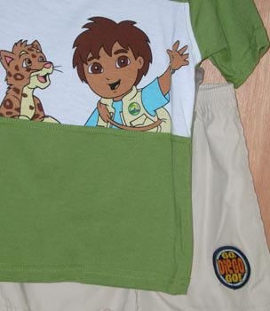 Go Diego Go 2pc Outfit Shorts & Shirt Top Size 4 4T NEW