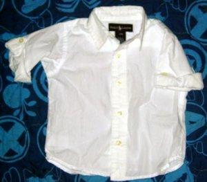 Ralph Lauren White Dress Shirt Girl's Size 12 Months Top