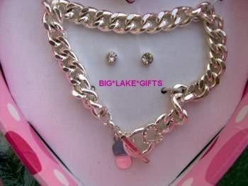 JLO J LO Rhinestone Earrings and Bracelet Set - NEW