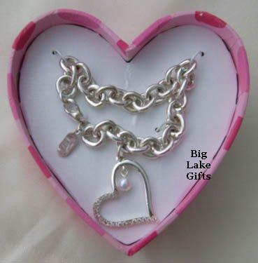 JLO Rhinestone Heart Pendant Bracelet NEW J LO
