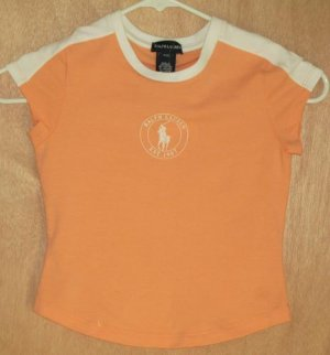 Ralph Lauren Peach Logo Top Size 7 S NEW Shirt