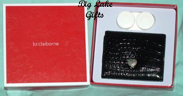 $20 Liz Claiborne Mirror Contact Lens Case Black NEW