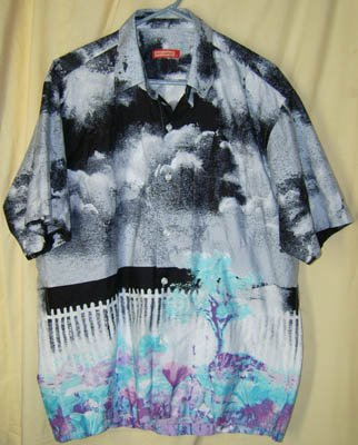 Jack Carroll Signed Button Front Artsy Shirt Size XL