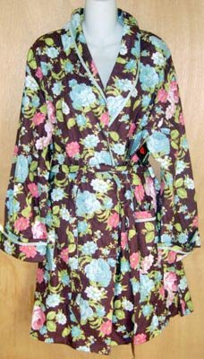 Joe Boxer Warm Burgundy Floral Robe Medium M NEW