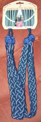 Cobalt Blue & White Braided Curtain Tie-Backs NEW