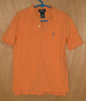 Ralph Lauren Tangerine Polo Top Girl's Size 7 Free Shipping
