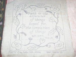 FAITH - Primitive Rug Hooking Pattern on Primitive LInen