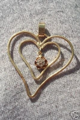 One of Kind Double Heart Diamond Pendant Solid Gold