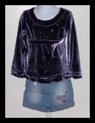 Girls Lipstik Purple Top Jeans skirt set size 6