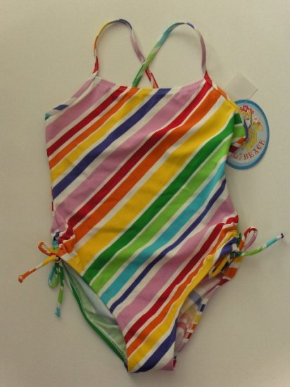 New Girls Angel Beach Multi diagonal striped one piece swimsuit  size 10 Free Ship for US and Canada