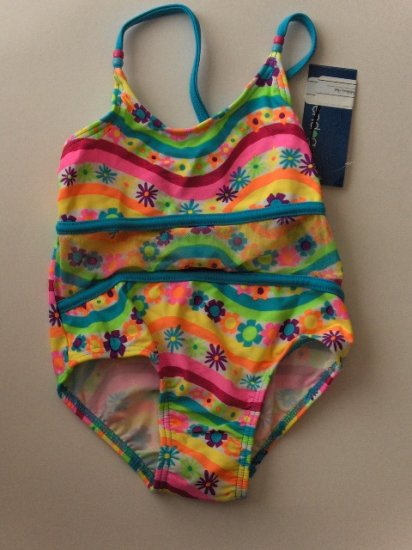 New Girls 4 4T toddler one piece floral striped swimsuit