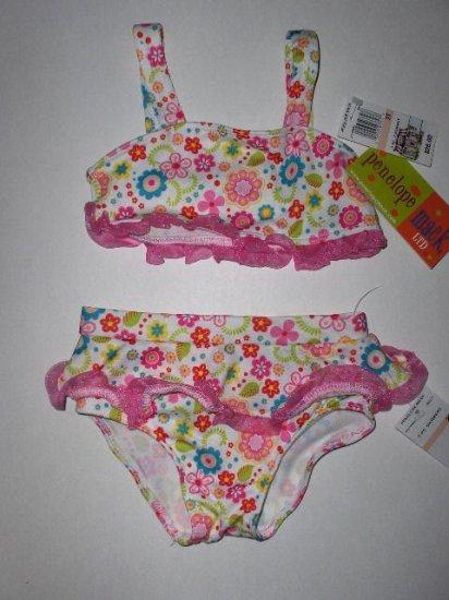 New Girls 2T toddler Penelope Mack floral bikini with ruffles