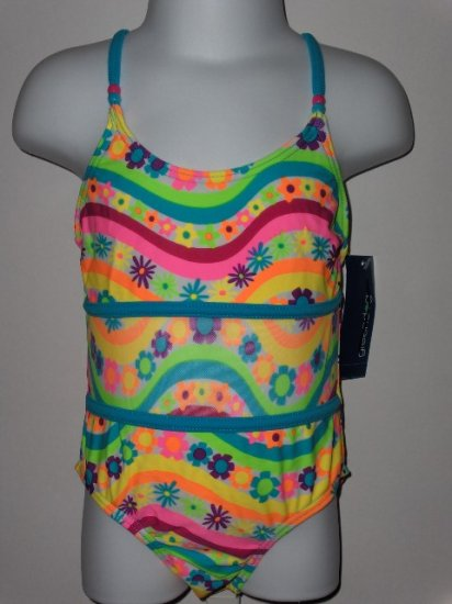 New Girls 4T toddler one piece floral striped swimsuit