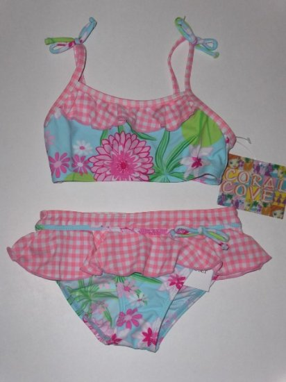 New Girls Coral Cove two piece swimsuit floral bikini with checks size 6