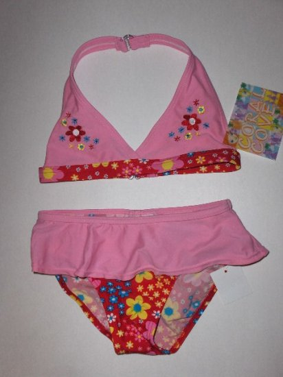 New Girls Coral Cove two piece swimsuit bikini pink with floral print size 6X