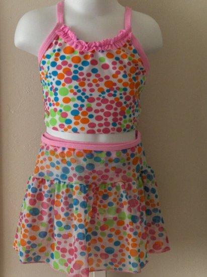 New Girls Green Dog polka dot three piece swimsuit set top, bottom, coverup skirt size 4 4T