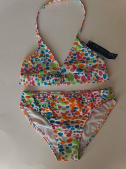 New Girls Green Dog polka dot three piece swimsuit set top, bottom, cover up skirt size 16