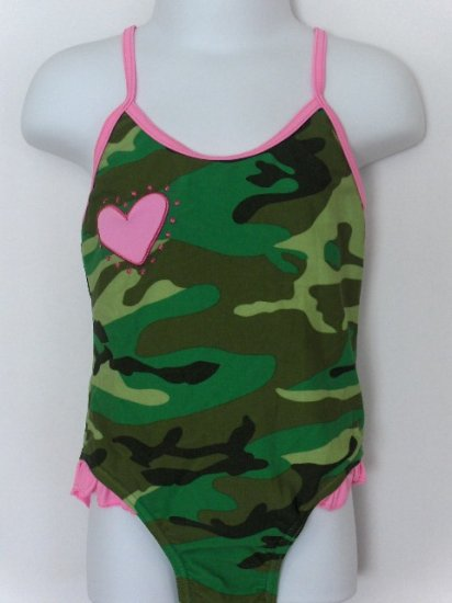 New Girls Green Dog Toddler 4T/4 one piece camo swimsuit