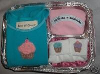 New Best of Chums gift set Cupcake set girl 12 mths top pants hat socks