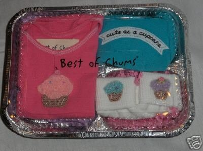 Best of Chums gift Set pink Cupcake set infant girl 6 mths new top pants hat socks