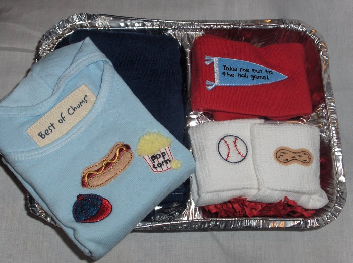 Best of Chums Boutique Ballgame set boy 6 mths new for sale with light blue shirt