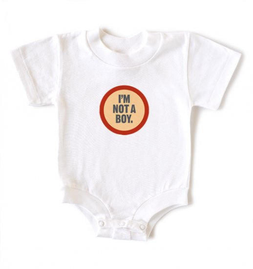 "New Baby Girls ""Wry Baby"" I'm not a Boy snapsuit onesie size 6-12 months"