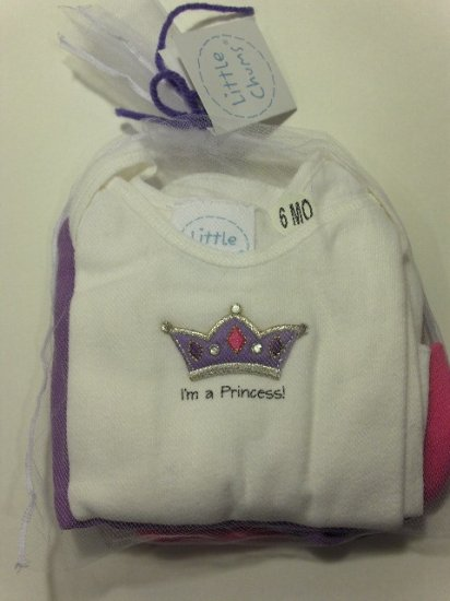 New Best of Chums little chums Gift Set white princess tee, pants, hat set size 6 months baby girl