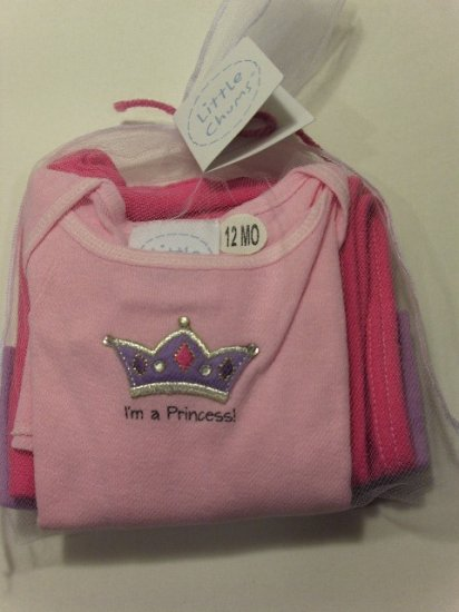 New Best of Chums gift set little chums pink princess tee, pants, hat set size 12 months baby girl