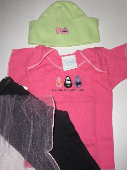 "New Best of Chums gift set  ""She with the most shoes"" pink tee three piece set baby girl 6 months"