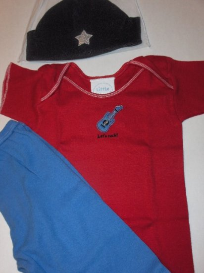 """New Best of Chums """"Let's Rock"""" red tee three piece set boys infant baby size 6 months"""