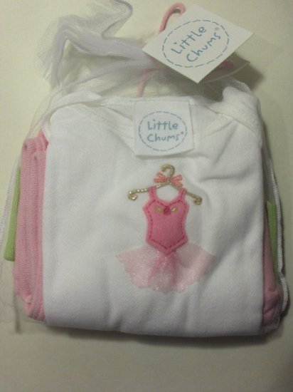 New Best of Chums gift set white tee Ballerina Set top pants hat size baby girl 6 months