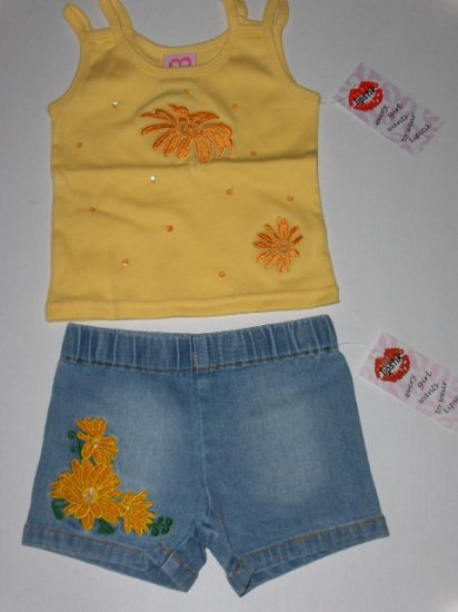 sale New Lipstik Sunflower tank jean short set toddler 2T girls