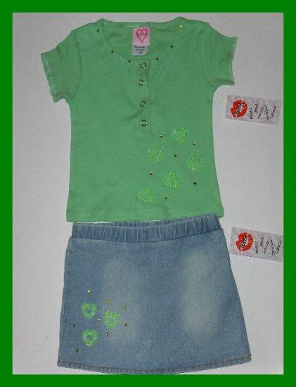 sale New Lipstik Green Beaded heart top jean skort toddler girls 2T