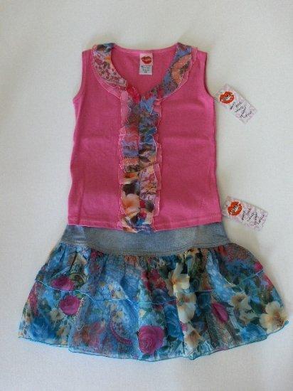 New Lipstik Bright pink sleeveless top ruffled jean skirt size girls 4