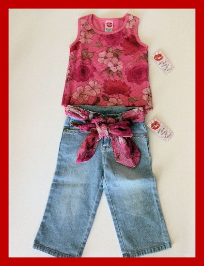 New Lipstik floral pink tank top belted jean capris girls size 4